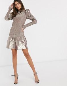Розово-серебристое платье мини с эффектом металлик & Other Stories-Мульти