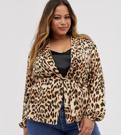 Красная мягкая куртка с леопардовым принтом AX Paris Plus-Мульти