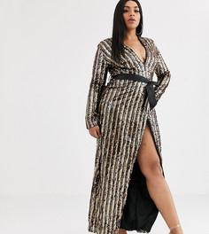 Асимметричное платье с глубоким вырезом и отделкой пайетками Club L London Plus-Мульти