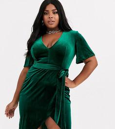 Бархатное платье с глубоким вырезом и запахом Club L London Plus-Зеленый