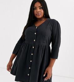 Мягкое джинсовое платье черного цвета ASOS DESIGN Curve-Черный