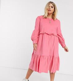 Ярусное вельветовое платье розового цвета ASOS DESIGN Curve-Розовый