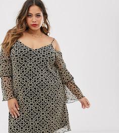 Сетчатое платье золотистого цвета с открытыми плечами Lovedrobe-Мульти