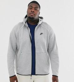 Худи серого цвета на молнии Nike Plus - Tech Fleece-Черный