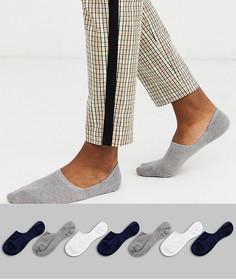7 пар невидимых носков синего, белого и серого цвета ASOS DESIGN - Набор со скидкой-Мульти