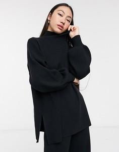 Черный свитер с объемными рукавами Selected Femme