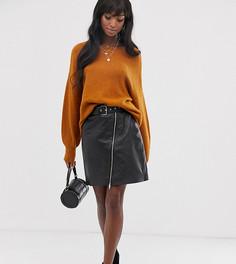 Кожаная юбка с поясом Y.A.S Tall-Черный