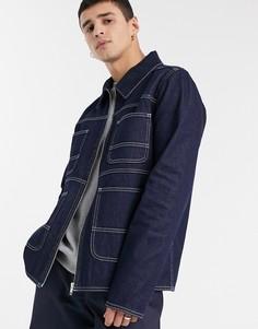 Джинсовая куртка цвета индиго с контрастными строчками ASOS DESIGN-Синий