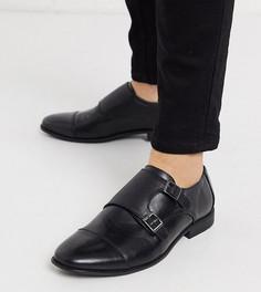 Черные монки из искусственной кожи для широкой стопы ASOS-Черный