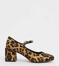 Туфли Мэри Джейн для широкой стопы на блочном каблуке с леопардовым принтом ASOS DESIGN-Мульти