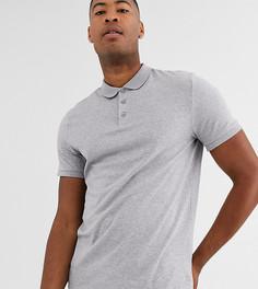 Серая меланжевая трикотажная футболка-поло ASOS DESIGN Tall-Серый