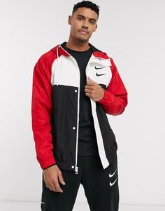Черно-красная куртка колор блок на молнии с капюшоном и логотипом в виде галочки Nike-Черный