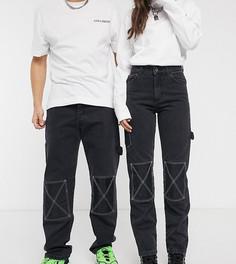 Прямые брюки унисекс в стиле 90-х COLLUSION x005-Черный