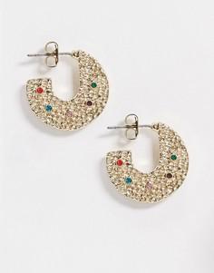 Золотистые массивные серьги-кольца с разноцветными камнями Pieces-Золотой