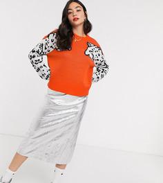 Оранжевый свитер с рисунком леопарда на рукавах Noisy May