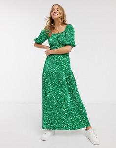 Зеленое плиссированное платье макси с цветочным принтом ASOS DESIGN-Мульти