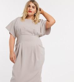 Серое платье-футляр миди со складками в талии ASOS DESIGN Curve-Серый