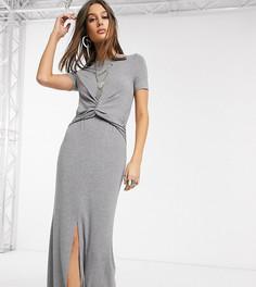 Серое платье макси с перекрученной отделкой ASOS DESIGN Tall-Серый