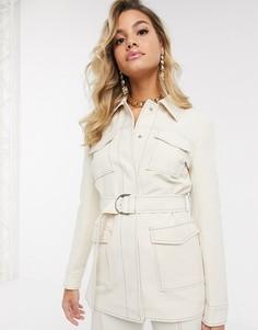 Пиджак кремового цвета с поясом и контрастными швами 4th + Reckless-Белый
