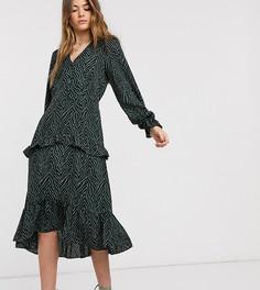 Платье миди с оборкой и анималистичным принтом Vero Moda Tall-Мульти