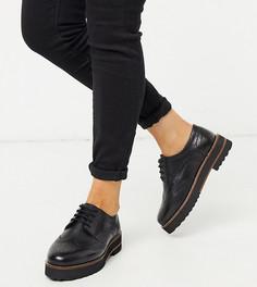 Черные кожаные броги для широкой стопы ASOS DESIGN-Черный