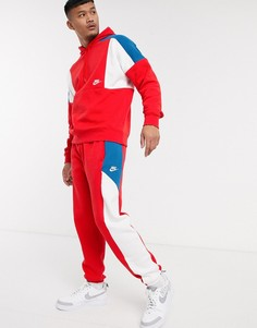Джоггеры в стиле колор блок красного цвета Nike-Красный