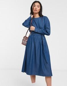 Джинсовое свободное платье Selected Femme-Синий
