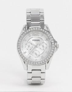 Серебристые наручные часы Fossil Riley ES3202-Серебряный