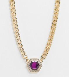 Броское золотистое ожерелье с фиолетовым камнем Reclaimed Vintage-Золотой