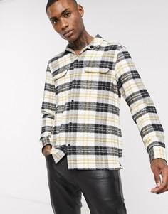 Рубашка в клетку белого/темно-синего цвета AllSaints-Белый