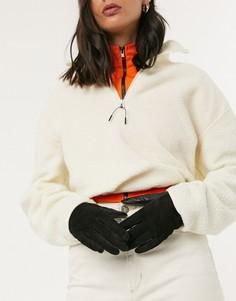 Черные кожаные перчатки Weekday-Черный
