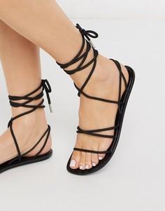 Черные сандалии из гибкого пластика с завязками ASOS DESIGN-Черный
