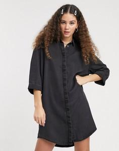 Черное джинсовое платье-рубашка мини Monki-Черный