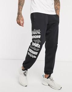 Черные тканые джоггеры с принтом по бокам adidas-Черный