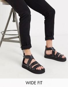 Черные кожаные сандалии-гладиаторы для широкой стопы с массивной подошвой ASOS DESIGN-Черный