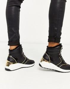 Черные кроссовки на шнуровке и танкетке River Island-Черный