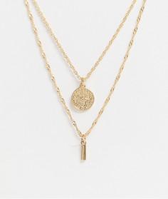 Золотистое ожерелье в два ряда с подвесками ASOS DESIGN-Золотой