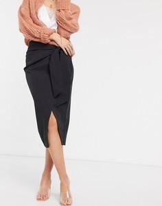Черная асимметричная юбка-карандаш с запахом River Island-Черный