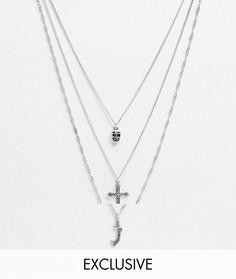 Набор ожерелий с подвесками Reclaimed Vintage Inspired-Серебряный