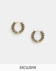 Золотистые серьги-кольца Reclaimed Vintage-Серебряный