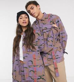 Камуфляжная куртка унисекс в стиле милитари с лентой COLLUSION-Фиолетовый