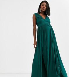 Плиссированное премиум-платье макси с кружевной отделкой ASOS DESIGN Maternity-Зеленый