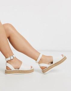 Белые сандалии‑эспадрильи на платформе ASOS DESIGN-Белый