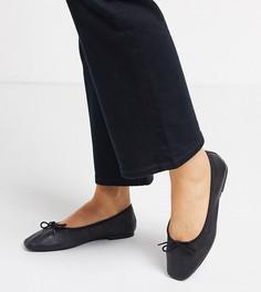 Черные кожаные балетки для широкой стопы с бантами ASOS DESIGN-Черный