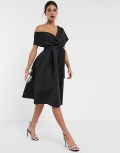 Черное платье миди для выпускного со спущенным плечом и поясом ASOS DESIGN-Черный