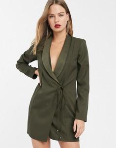 Платье-смокинг мини с веревочной отделкой ASOS DESIGN-Зеленый