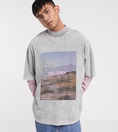 Серая oversized-футболка с фотопринтом и эффектом кислотной стирки COLLUSION-Серый