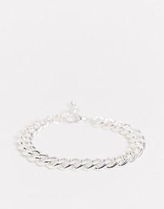 Серебристый браслет из массивной цепочки ASOS DESIGN-Серебряный