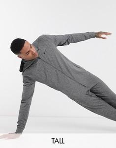 Худи темно-серого цвета на молнии Nike Yoga Tall-Серый