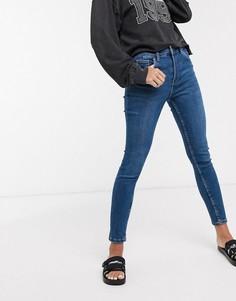 Темно-синие супероблегающие джинсы с 5 карманами Bershka-Синий